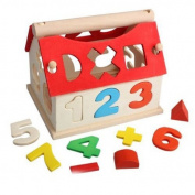 Wooden Toys House Digital Number Kids Building Educational Blocks