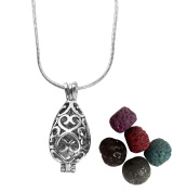 Premium Teardrop Essential Oil Diffuser Necklace With Lava Stones Aromatherapy Locket Pendant Gift Set with 60cm Chain and Multi-Coloured Beads