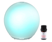 Prairie Essentials Oasis Essential Oil Ultrasonic Cool Mist Frosted Glass Diffuser Includes 5ml bottle of Relax & Unwind Essential Oil with Quick Start Guide