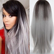 Ten Chopstics Grey Ombre Unprocessed Human Hair Lace Front Wigs Front Lace Wig Two Tone Bleached Knots Brazilian Virgin Hair for Black Women Natural Baby Hair in Stock