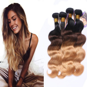 Kapelli Hair Ombre Hair Brazilian Body Wave 3 tone Black to Brown to Blonde Human Virgin Hair Remy Hair Extensions Weave Weft 4 Bundles/lot, 400g Total #T1b/4/27