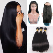Shengji Hair 360 Lace Front Closure with Bundles Brazilian Virgin Human Hair 7a Straight 360 Lace Frontal with Baby Hair