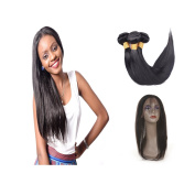 """XCCOCO 360 Lace Frontal With Bundles 8A Brazilian Virgin Silky Straight Human Hair 3 Wefts With 360 Frontal 22.5""""x4""""x2"""" 360 Lace Band Frontal Closure With Baby Hair"""