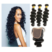XCCOCO Hair 4Packs 8A Grade Top Quality Deep Wave Human Hair 3Bunldes With 4X4 Lace Closure Free Part Silk Lace Frontal and bundles