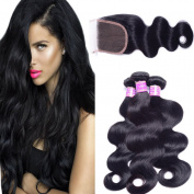 AliBarbara Brazilian Body Wave Virgin Hair 3 Bundles with 4x4 Lace Closure 100% Unprocessed Human Hair Extensions with Free Part Closure