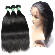 Msbeauty 360 Lace Band Frontal with Bundles (25cm closure with 10 12 12)Brazilian Virgin Hair Straight Natural Hairline Pre-plucked Natural Black Colour