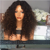 Amethyst Short Small Curly Ombre #4 Brown Dark Root Lace Front Wigs Brazilian Hair Glueless Lace Wigs 150 Density