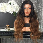 Amethyst Brazilian Human Hair Ombre Auburn Colour Glueless Wavy Lace Front Wigs 130 Density Baby Hair Natural Hairline