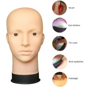 Head Model, Hatop Mannequin Flat Head Practise Make Up Massage Training Model Eyelash Extensions