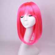 Ty.Hermenlisa 41cm Synthetic Hair Wigs Crazy Colour Costume Party Short Bob Hairpieces for Women Anime Cosplay Wig with Bang, 155g, Hot Pink