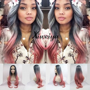 Xiweiya ombre black blue to red nature wave synthetic lace front wig mermaid long wavy hair replacement wig for women half hand tied gluless wig