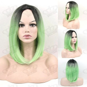 Beauty_Temptation Ladies Ombre Dark Root/Mint Green Fringeless Bob Style New Cosplay Synthetic Wig