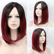 Beauty_Temptation Ladies Ombre Dark Root/Burgundy Red Fringeless Bob Style Quality Synthetic Wig