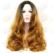 Beauty_Temptation Ladies Ombre Dark Brown/Honey Brown Long Wavy Faceframe Fringeless Synthetic Wig