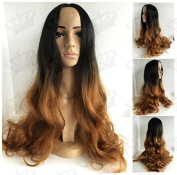 Beauty_Temptation Chic Ladies Ombre Dark Root/Light Brown Long Wavy Hair Fringeless Synthetic Wig