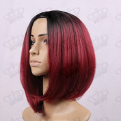Beauty_Temptation Ladies Ombre Dark Root Black/Wine Red Fringeless Classy Bob Style Synthetic Wig