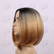 Beauty_Temptation Ladies Ombre Dark Root Black/Champagne Blonde Fringeless Bob Style Synthetic Wig