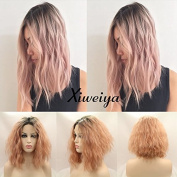 Xiweiya 180% Density Light Pink As Smoke Ombre Hair Synthetic Lace Front Wig Water Wave Short Bob Hair Heat Resistant short wig for women