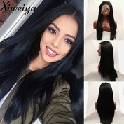 Xiweiya soft silky long straight black synthetic lace front wig with heat resistant fibre half hand tied hair replacement for women