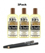 HOLLYWOOD BEAUTY Tea Tree Oil Skin & Scalp Treatment 240ml (3Pack) With NickK Pencil