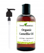 Organic Camellia Seed Oil | Imported From Japan | 240ml Bottle | 100% Pure | 100% Organic | For Hair & Skin Use | By Sweet Essentials