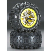 Traxxas 7276 1/16 Summit Canyon AT Tyres with Inserts Mounted Beadlock Wheels on Geode Chrome, Yellow, 2.2, Model