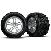 Traxxas 5174 Talon Tyres on Chrome Split Spoke Wheels, Revo/Maxx, Model