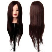 LuckyFine 30% Real Hair Blonde Training Hairdressing Cut Head Mannequin Human Hair + Clamp