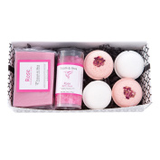 Bath / Spa Gift Set | Natural Handmade Rose Soap Bar, Rose Scented Dead Sea Bath Salts, 4 Fizzy Bath Bombs (2 Each, Rose & Gardenia) | Gift Boxed |