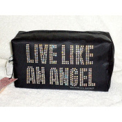 Victoria's Secret Fashion Show London 2014 Black Rhinestone Bling Live Like an Angel Zip up Makeup Cosmetics Bag Tote by Victoria's Secret