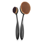 Zodaca Small + Large Oval Makeup Brush Toothbrush For Cosmetic Foundation Cream Powder Makeup Tool, Black/Brown