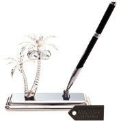 Silver Plated Executive Desk Set With Crystal Topped Pen and Silver Palm Trees Ornament by Matashi