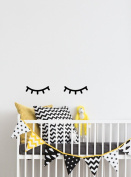 Dnven Quotes (20cm w) Cute Narrow Eyes Sleeping Children Kids Bed Decorations Wall Door Glass Decals Stickers Removable Vinyl Arts for Children's Day Bedrooms Family Playroom Classroom Nursery
