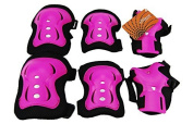 eNilecor Kid's Inline Skating Roller Blading Wrist Elbow Knee Pads Blades Guard Gift for Children's Day, Christmas Pack of 6 (Hot Pink) Colour