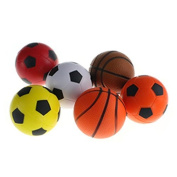 Mini Foam Basketball Soccer Football Softball Stress Squeeze Balls Boy Girl Party Miniature Ball Game Favours Fun Sports Outdoor or Indoor Play Toy Pack of 6, Model