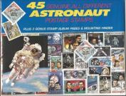 45 Genuine Postage Stamps Assortment - Astronaut, Model