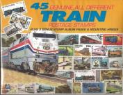 45 Genuine Postage Stamps Assortment - Trains, Model