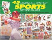 45 Genuine Postage Stamps Assortment - Sports, Model
