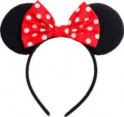 Minnie Mouse Ears Inspired Classic Red And White Polkadots Hair Bow Headband Women Girls Mickey Birthday Party Theme Outfit by Sweet in the City