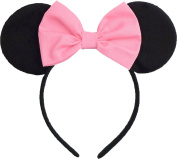 Minnie Mouse Ears Inspired Candy Pink Hair Bow Headband Women Girls Mickey Birthday Party Theme Outfit by Sweet in the City