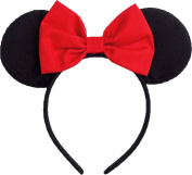 Minnie Mouse Ears Inspired Red Hair Bow Headband Women Girls Mickey Birthday Party Theme Outfit by Sweet in the City