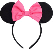 Minnie Mouse Ears Inspired Hot Pink Hair Bow Headband Women Girls Mickey Birthday Party Theme Outfit by Sweet in the City
