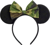Minnie Mouse Ears Inspired Camo Camouflage Hair Bow Headband Women Girls Mickey Birthday Party Theme Outfit by Sweet in the City