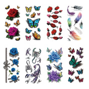 Fashion Lady 8 Different Sheets Long Lasting Body Art Stickers Fake Make Up Style Eagle Owl Fish Big Skull Flower Eye Large Removable Waterproof Temporary Tattoo for Guys