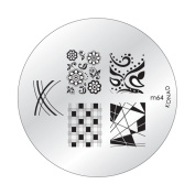 Konad Stamping Nail Art DIY Circle Round Image Plate m64 with One Ganda Nail Buffer