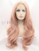 Exvogue Fashion Dark Pastel Pink Lace Front Wigs for Women Long Natural Wavy Wig Heat Resistant Hair Celebrity Synthetic Wigs Middle Parting