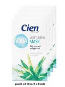 Pack of 10 x (2 x 8 ml) Aqua Moisturising Mask - with aloe vera and jojoba oil