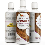 Coconut Oil for Skin & Hair with Lavender Essential Oil Fractionated Cold Pressed Unrefined Moisturising Natural Skin Care Emollient Aromatherapy Massage Carrier Health and Beauty Oil for Women & Men