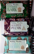 Holiday Cleansing Wipes Bundle of 3 Peppermint Bark Vanilla Berry Sugared Plums