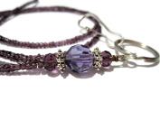 ATLanyards Purple Bottom Beaded Lanyard, Purple Beaded Id Badge Holder, Purple Id Tag Lanyard